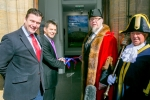 James Heappey MP, Joe Garner Nationwide's CEO and Jon Cousins, Mayor of Glastonbury cutting the ribbon
